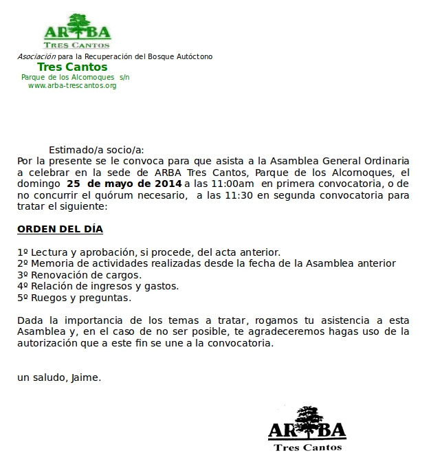 Convocatoria Asamblea General 2014 – 25 de mayo de 2014