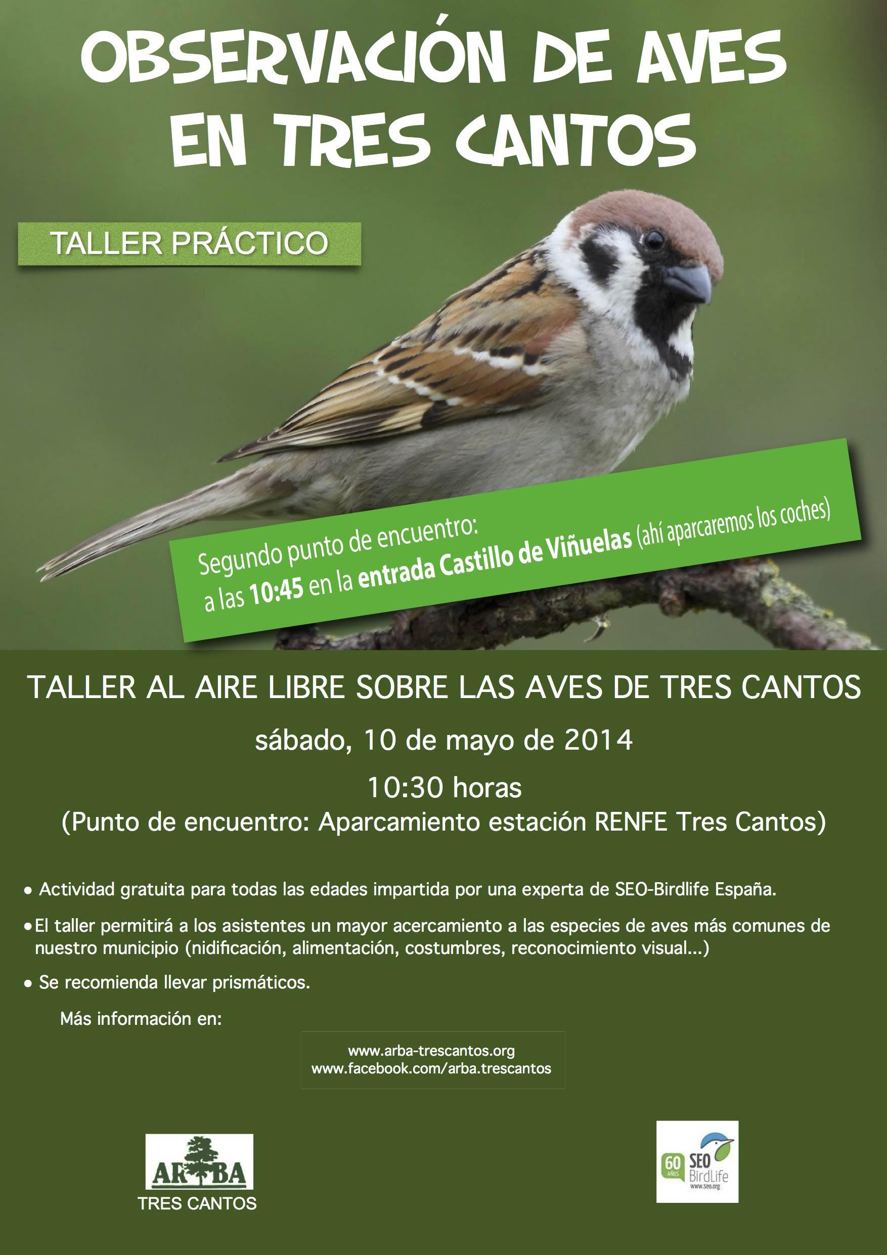 Taller al aire libre sobre las Aves de Tres Cantos – 10 mayo 2014
