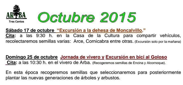 Actividades Octubre 2015