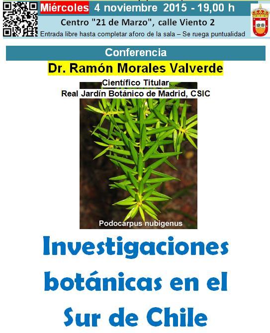 Conferencia del Dr. Ramón Morales – 4 de Noviembre 2015
