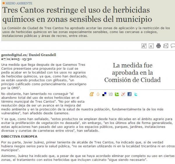 Tres Cantos restringe el uso de herbicidas – Noviembre 2015