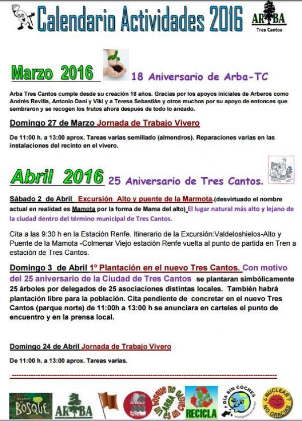 Calendario Actividades Marzo – Abril 2016