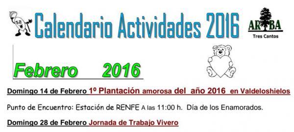 Calendario Actividades Febrero 2016