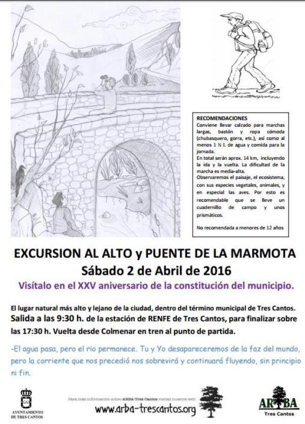 XXV Aniversario de Tres Cantos – Excursión al Puente de la Mamota – 2 de abril 2016