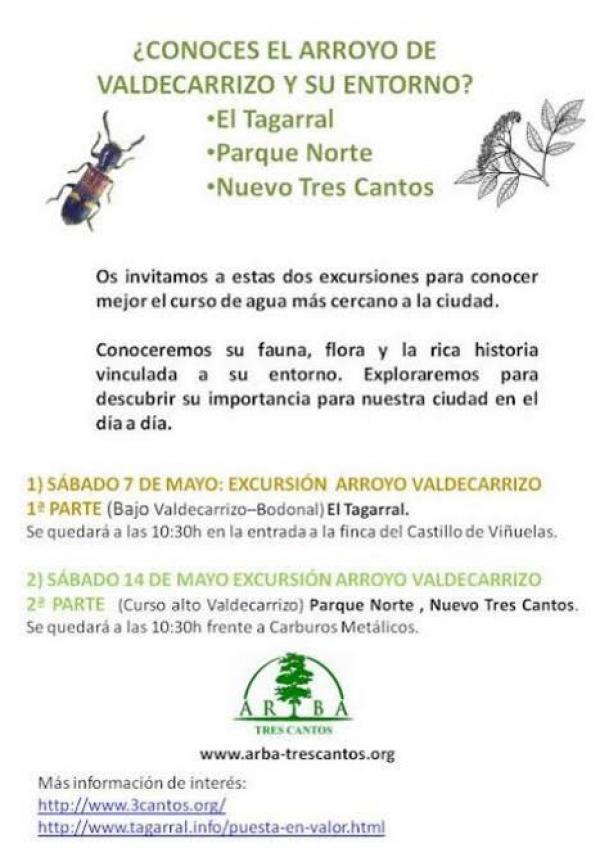 Excursiones al Arroyo Valdecarrizo – Sábados 7 y 14 de mayo 2016