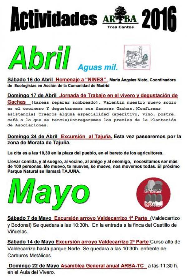 Calendario Actividades Abril y Mayo 2016