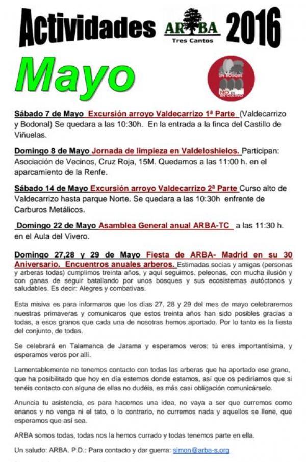 Calendario Actividades Mayo 2016