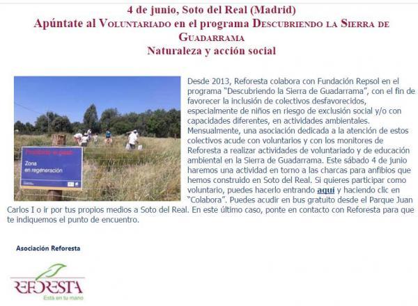 Programa Descubriendo la Sierra de Guadarrama – 4 junio 2016