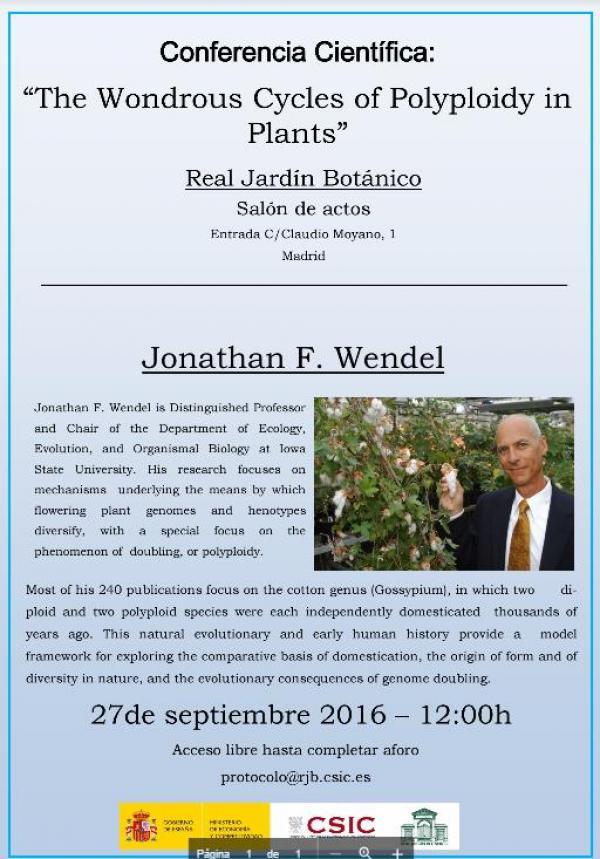 Conferencia en el Real Jardín Botánico – 27 septiembre 2016