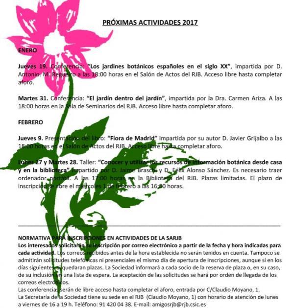 Actividades en el Real Jardín Botánico – Enero/Febrero 2017